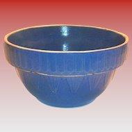 Blue Inverted Picket Fence & Pyramid Design Stoneware Bowl