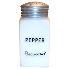 Hazel Atlas Advertising Electrochef White Milk Glass Pepper Shaker