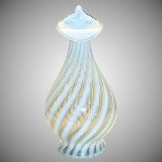 Fenton Jack-N-Pulpit White & Clear Swirl Design Glass Opalescent Vase