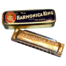 Vintage FR. Hotz The Harmonica King Harmonica in Original Tin Case