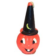Vintage Gurley Novelty Halloween Pumpkin Witch Candle
