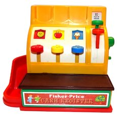Fisher Price 1975 Toy Cash Register With 6 Coins