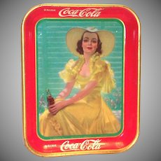 Coca Cola 1938 Lady In Yellow Metal Serving Tray