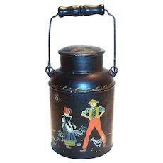 Vintage Hand Painted Folk Art or Toleware Dutch Boy & Girl Design Milk Pail