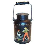 Vintage Hand Painted Folk Art or TolewareDutch Boy & Girl Design Milk Pail