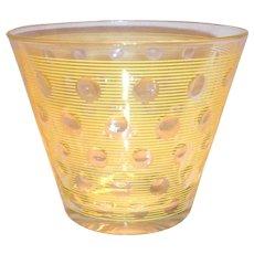 Vintage Retro Yellow Pin Striped & Clear Polka Dot Design Ice Tub/Bowl
