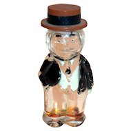 Vintage Character Man Glass Perfume Bottle