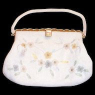 Lovely Vintage Floral Beaded Design On All Beaded Purse