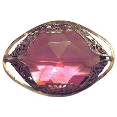 Vintage Purple Glass Cabochon In Gold Tone Filligree Metal Framed Pin