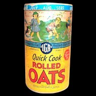 Vintage IGA Quick Cook Rolled Oats Cardboard Container