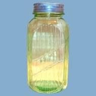 Vintage Anchor Hocking Light Transparent Green Glass 40 Oz. Canister with a Tin Lid