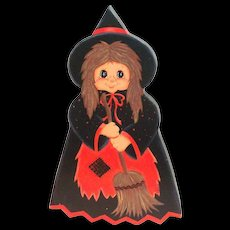 Darling Hand Painted & Signed Wooden Halloween Witch Plague/Decoration