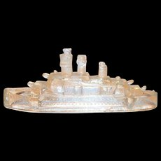 Vintage Clear Glass Military Ship Candy Holder/Container