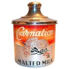 Vintage Carnation Malted Milk Aluminum Container