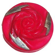 Vintage Berry Red & Gray Floral & Thunderbolt Design Round Celluloid Button