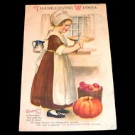 Vintage Thanksgiving Wishes Postcard - 1920