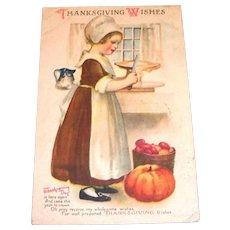 Vintage Thanksgiving Wishes Postcard - 1920