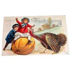 Vintage Good Friends, Thanksgiving Postcard - 1912