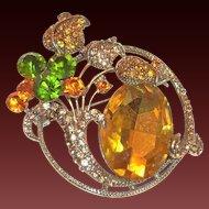 Lovely Large Amber Rhinestone With Green & Darker Amber Rhinestone Floral Design Pin/Pendant