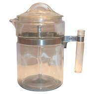 Pyrex 1940's-50's Flame Ware Glass Percolator Coffee Pot
