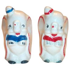 Vintage Disney: Leed's Pottery Hand Painted Dumbo Salt & Pepper Shakers