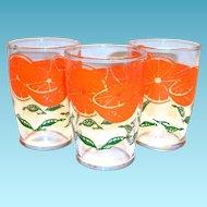 Vintage Orange & Leaf Design Orange Juice Glass