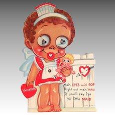 Vintage Black Americana: Google Eyed Maid Mechanical Valentine