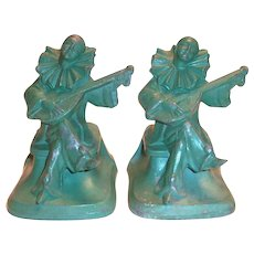 Vintage Clowns Playing Lutes Green Painted Bookends