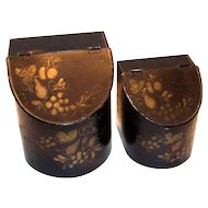 Antique Toleware Tin Kitchen Canisters or Storage Bins