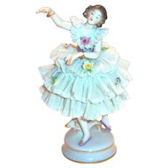 Vintage Dresden Porcelain Lace Ballerina Figurine