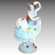 Vintage Dresden Ballerina Frilly Lace Dress Figurine