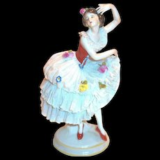 Vintage Dresden Ballerina Frilly Lace Dress Figurine