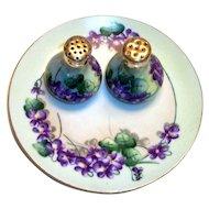Hand Painted Violets & Leaf Design Plate & Salt & Pepper Set