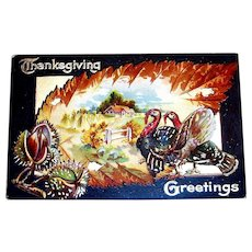 Vintage Thanksgiving Greetings Postcard - 1909
