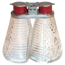 Advertising Enderlin Feed Store Glass Shakers with Red Plastic Caps & Metal Holder.