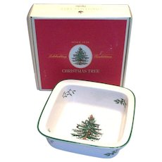 "Spode Christmas Tree 8"" Sq. Rim Serving Bowl In Original Box"