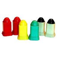 Art Deco Style 6 Pc Set Plastic Salt & Pepper Shakers