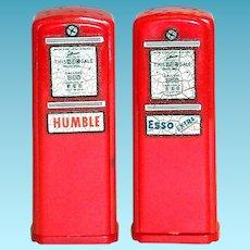 Vintage Esso & Humble Advertising Novelty Red Plastic Gas Pumps Salt & Pepper Set