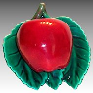 Vintage Red Apple & Green Leaves Porcelain Wall Pocket