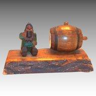 Vintage Hand Carved Wooden Gnome & Barrel Inkwell Desk Top Set