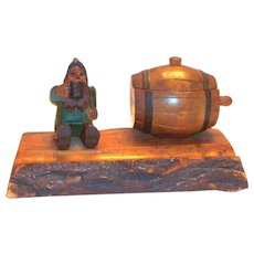 Vintage Hand Carved Wooden Gnome & Barrel Inkwell Desk Top Set