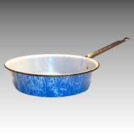 Vintage Light Blue With A White Swirl Design Enamelware Metal Frying Pan