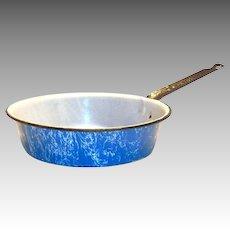 Vintage Light Blue With A White Swirl Design Enamelware Metal Frying Pan
