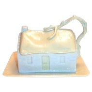 Belleek Driftwood Covered Cottage Butter Dish - 6th/3rd Green Mark