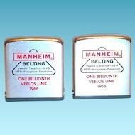 Vintage Zippo Advertising Manheim Belting 1966 Metal Measuring Tape