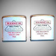 Vintage Zippo Advertising Manheim Belting 1966 Metal Measuring Tape