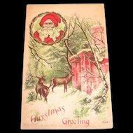 Vintage Christmas Greeting Santa & Deer Postcard
