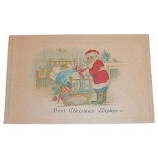 Vintage Best Christmas Wishes Postcard