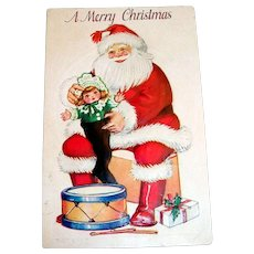 """Vintage """"A Merry Christmas"""" Santa Claus With Toys Postcard"""