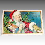 Merry Christmas Santa Claus With Toys Postcard